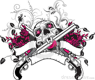 Skull Guns Roses T-Shirt Design