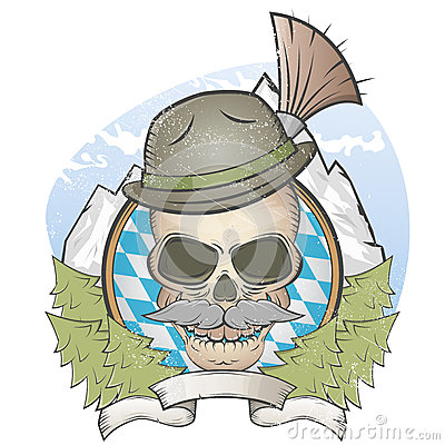 Skull with hat and bavarian gamsbart
