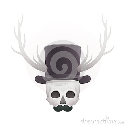 Skull in with horns and a mustache