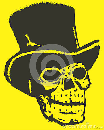 Skull with Hat Vector Design Clipart