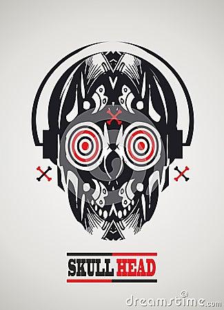 Skull-head with headphones