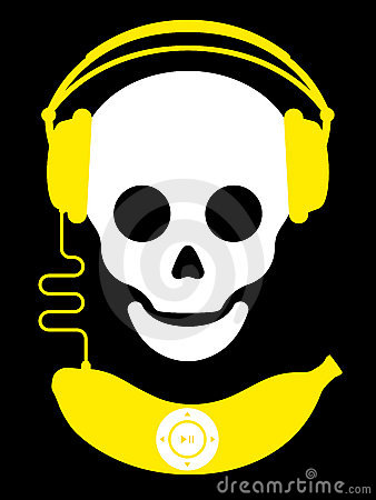 Skull with headphones and banana music player