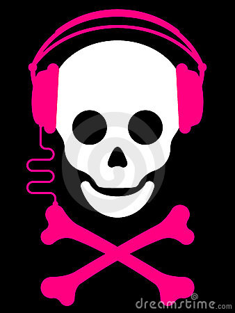 Skull with with headphones music pl