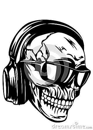 skull in headphones and sunglasses stock vector image