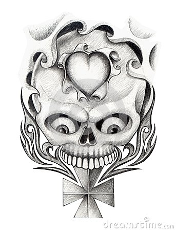 Drawings of crosses with skulls