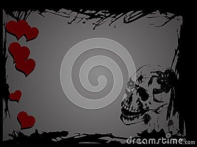 Skull and hearts