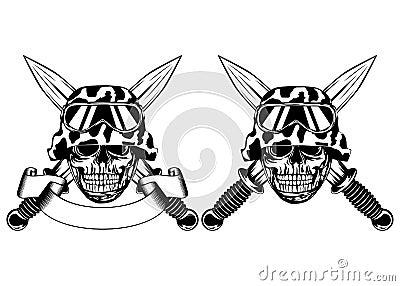 Skull in helmet