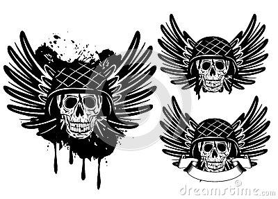 Skull in helmet and wings