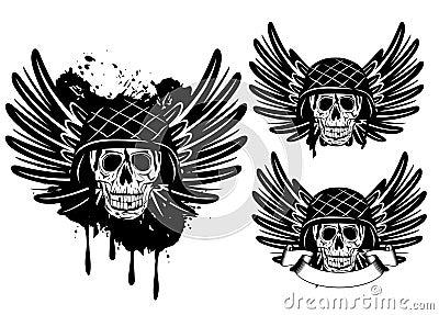 Skull in helmet and wings
