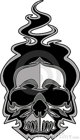 Skull Image with Flames Vector