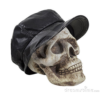 Skull in Leather Driving Cap
