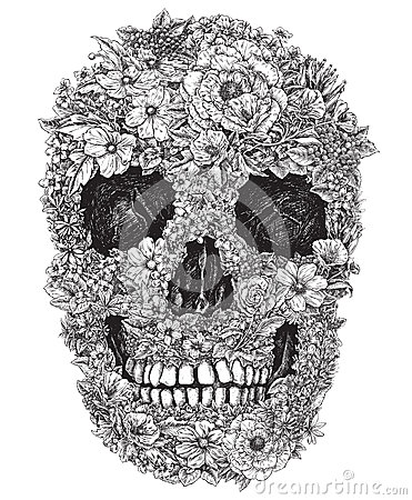 Free Skull Made Out Of Flowers Vector Illustration Stock Image - 31718721