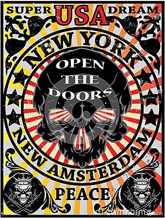 Free Skull New York Vintage Eagle Poster Man T Shirt Graphic Design Stock Photo - 47707890