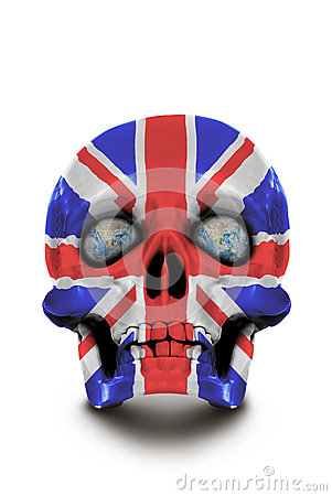 Skull painted in the colors of the Union Jack isolated on white background