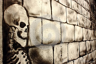 Skull painted on a wall