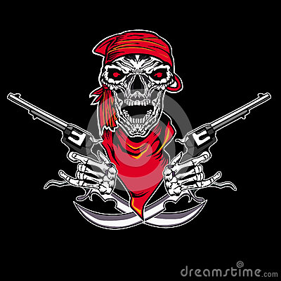 Skull pistol Cartoon Illustration