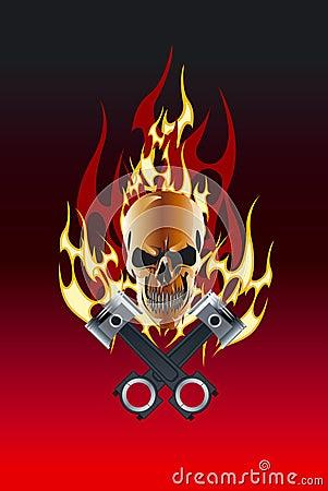 Skull piston flame