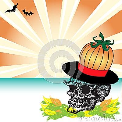 Skull with pumpkin hat