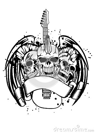 Skull punk with guitar