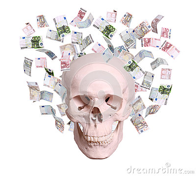 Skull in rain of euros