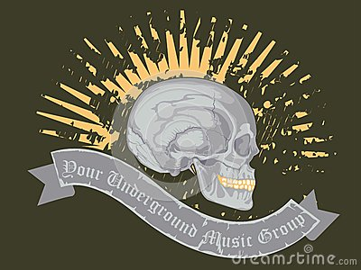 Skull with ribbon and music roup name text