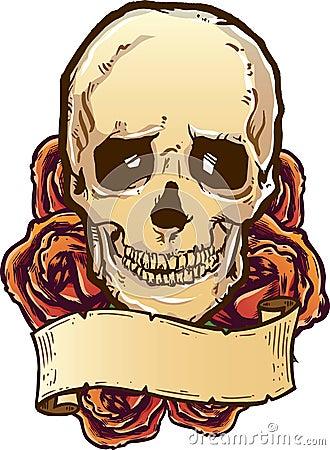 Skull roses and banner illustration