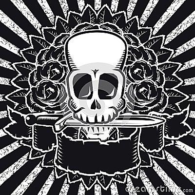 Skull roses BW