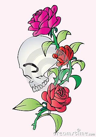 Stock Photo: Skull and roses tattoo