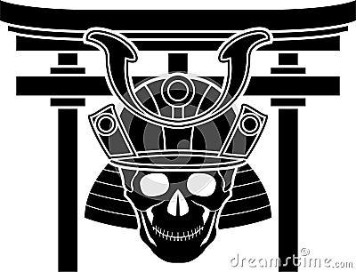Skull of samurai and torii gate