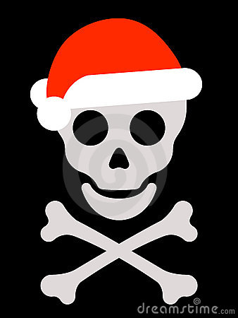 Skull with santa hat and crossbones