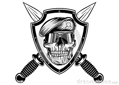 Skull in shield and daggers