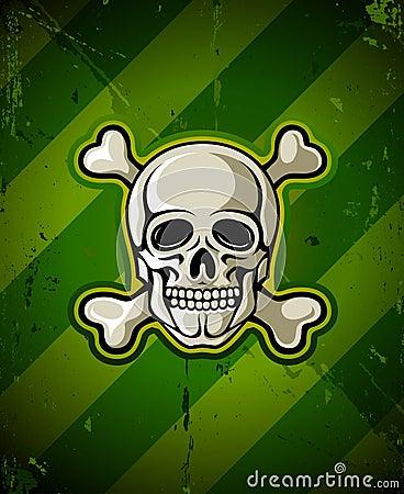 Skull with skeleton bones on military background