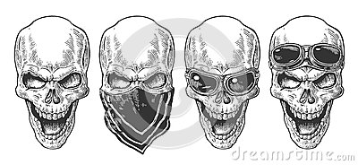 Skull smiling with bandana and glasses for motorcycle. Black vintage vector illustration. For poster and tattoo biker club. Vector Illustration