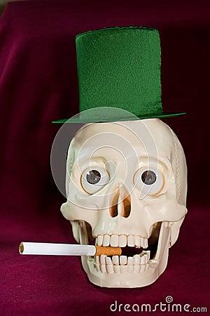 Skull smokes a cigarette