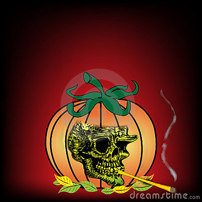 Skull smoking from a pumpkin