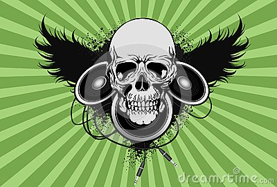 Skull with spekaer and wing