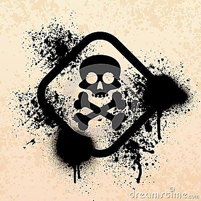 Skull splatter grunge symbol