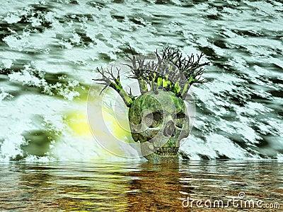 Skull - surreal landscape