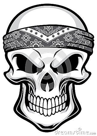 skull wearing bandana stock vector illustration of
