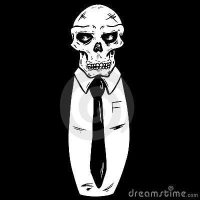 Skull wearing a suit and tie vector illustration