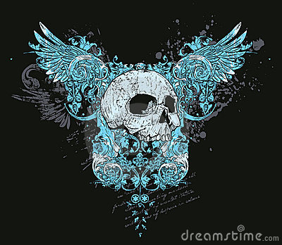 Skull and wings design
