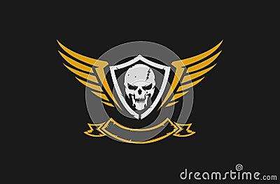 Skull and wings logo Vector Illustration