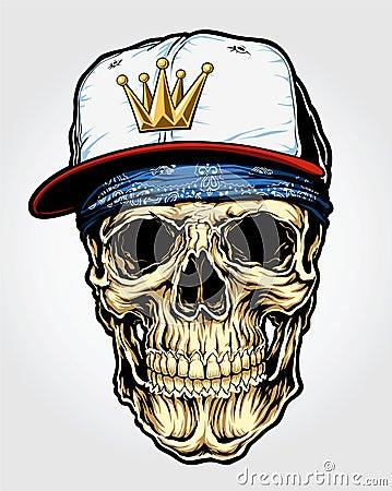 Free Skull With Bandanna And Cap Royalty Free Stock Image - 33585976
