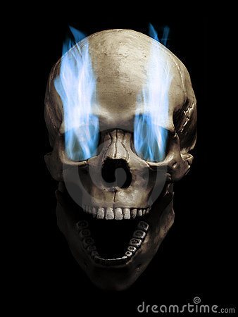 Free Skull With Flaming Eyes Royalty Free Stock Photo - 21659825