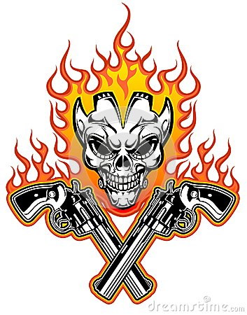 Free Skull With Guns Royalty Free Stock Photography - 36409317