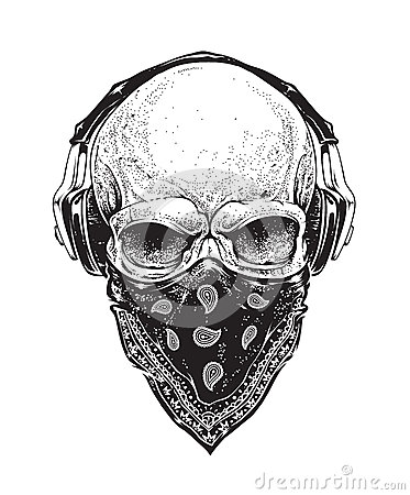 Free Skull With Headphones Royalty Free Stock Image - 53369546