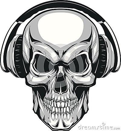 Free Skull With Headphones Stock Photography - 56990052