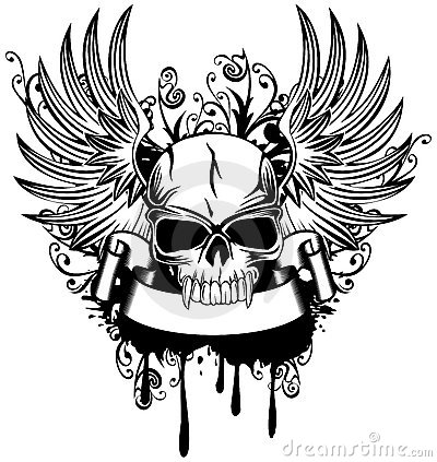 Free Skull With Wings Stock Image - 23169291