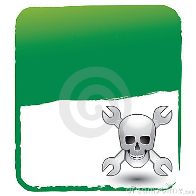 Skull and wrenches on green background