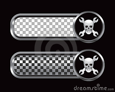 Skull and wrenches on silver and black checked ads